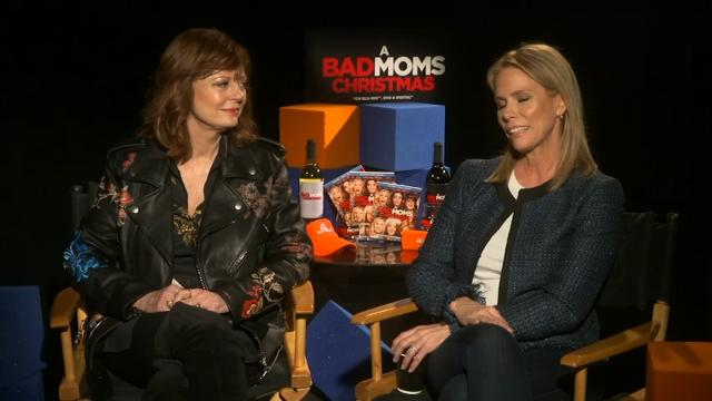 """""""A Bad Moms Christmas"""" stars Susan Sarandon and Cheryl Hines say they get emotional when their children praise their abilities as mothers. (Feb. 15)"""