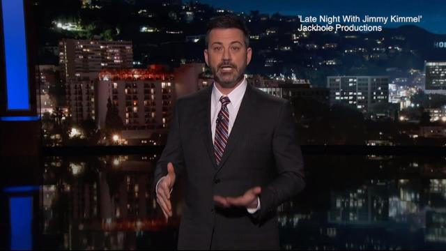 Jimmy Kimmel makes tearful plea to Donald Trump for gun control