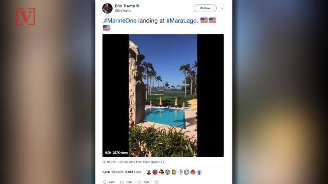 President Trump's son, Eric, received backlash after tweeting a video of Marine One landing in Mar-a-Lago. Veuer's Sam Berman has the full story.
