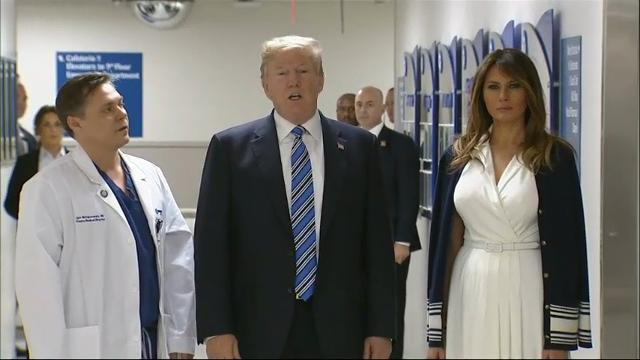 President Donald Trump visited a Florida hospital Friday to thank medical professionals who helped the wounded in a horrific high school shooting, coming face-to-face with first responders in the deadly assault. (Feb. 16)