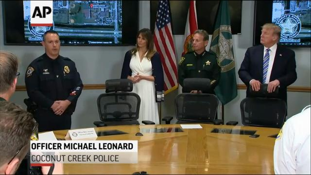 President Donald Trump visited the Broward County Sheriff's Office to praise the first responders for their work at the Marjory Stoneman Douglas High School shooting on Friday. (Feb. 16)