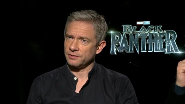 Andy Serkis and Martin Freeman discuss being the only white actors in the large main ensemble cast of 'Black Panther'