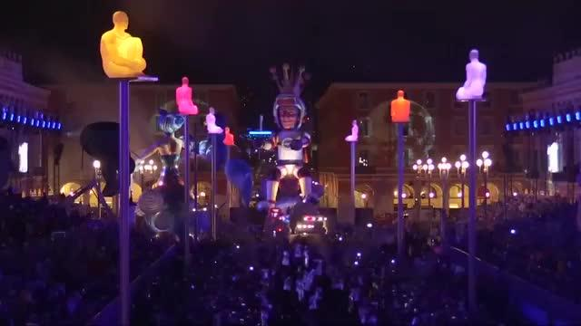 Carnival joy filled the French Riviera town of Nice on Saturday night (February 17) as it welcomed the 134th edition of the King's Carnival with space as its main theme, honouring French astronaut Thomas Pesquet. Rough cut (no reporter narration). Video provided by Reuters