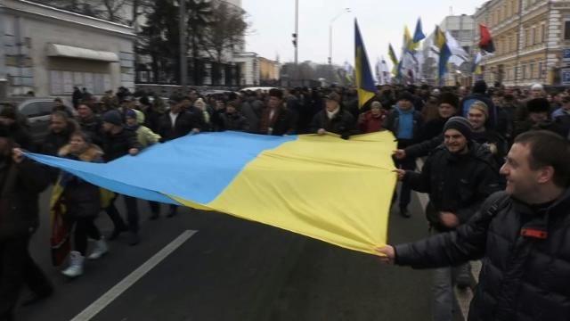 Thousands of Saakashvili supporters march in Kiev Video provided by AFP