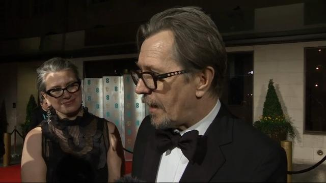 """At the BAFTA Awards after-party, Gary Oldman talks about winning Best Actor for portraying Winston Churchill in """"Darkest Hour."""" (Feb. 19)"""