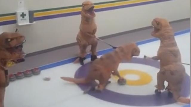 Taking curling to the next level: T-Rex style
