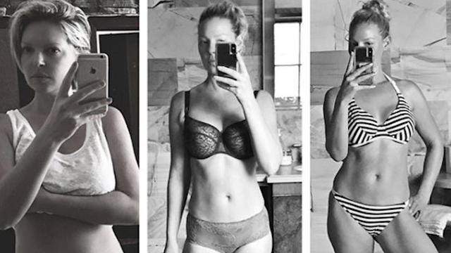 Katherine Heigl is on her way to a well-earned six-pack.