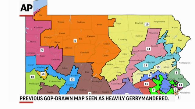 Pennsylvania's Democratic-majority Supreme Court voted 4-3 on Monday to impose the new congressional district map it drew. The previous map was widely seen as heavily gerrymandered. Republicans say they'll fight the new map in federal court. (Feb. 20)