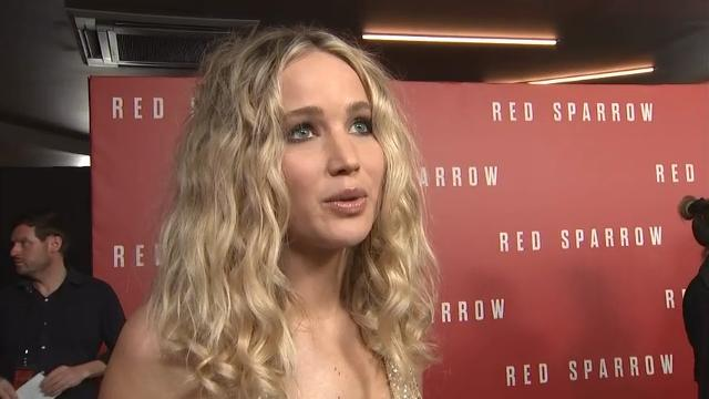 """At the London premiere of her new thriller """"Red Sparrow,"""" actress Jennifer Lawrence says she felt """"empowered"""" during shooting and discusses the necessity of shooting nude scenes. (Feb. 20)"""