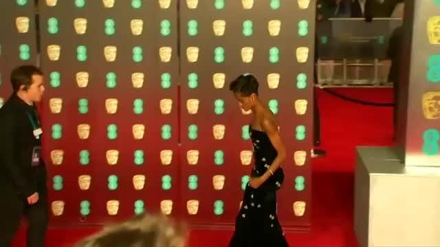 Letitia Wrights who stars in blockbuster film 'Black Panther' did an impromptu rap performance on the BAFTA red carpet at Britain's top film awards. ROUGH CUT, No Reporter Narration Video provided by Reuters