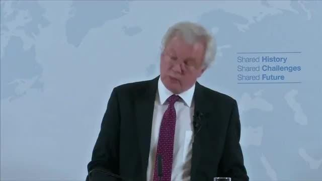 "UK Brexit minister David Davis says there will be no regulation-light ""Mad Max"" economy that will aim to undercut rivals after Brexit. Rough cut (no reporter narration).