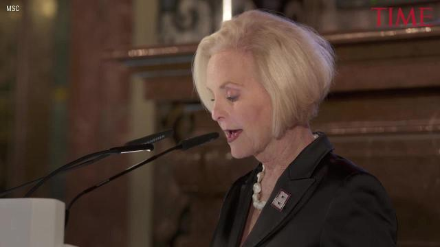 Cindy McCain accepted an award on behalf of her husband John McCain, who is ill with brain cancer, on Saturday night at the Munich Security Conference.