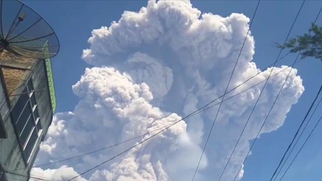 Mount Sinabung sent plumes of ash and smoke over the Indonesian island of Sumatra when it erupted Monday. There were no reports of deaths of injuries. It's one of more than 120 active volcanos in Indonesia.