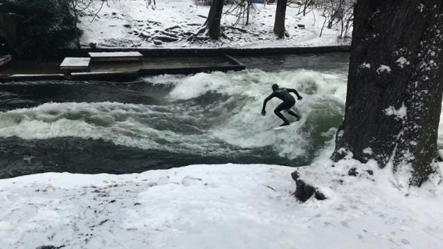Surf's up on Munich's man-made Eisbach river Video provided by AFP
