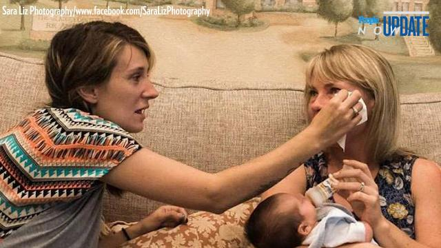 Lauren Koller, of Austin, Texas, was overcome with emotion when she held her new son for the first time —and the boy's biological mother was right there to comfort her