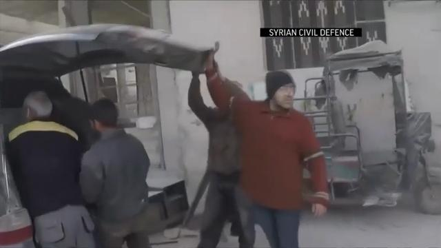 GRAPHIC VIDEO OF INJURIES: Rescue and monitoring groups say new airstrikes and shelling on the besieged, rebel-held suburbs of the Syrian capital killed at least 10 people on Wednesday. (Feb. 21)