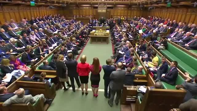 Theresa May and Jeremy Corbyn debated Brexit. The leader of UK opposition mocks the government's position on Brexit during the weekly Prime Minister's Questions debate in parliament. Rough cut (no reporter narration). Video provided by Reuters