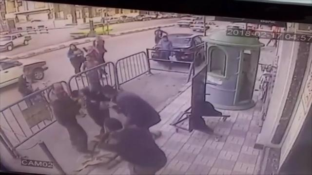 Egypt police catch child falling from building
