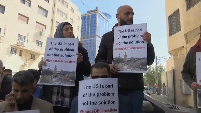 A delegation from the U.S. organization 'Civil Society in New York' were pelted with eggs as they left a meeting with Palestinian representatives in Ramallah. (Feb. 22)