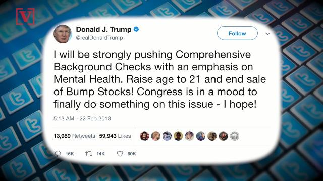 In a tweet, President Trump announced he will be pushing for Comprehensive Background Checks, raise the age for purchasing guns to 21, and end the sale of bump stocks. Veuer's Sam Berman has the full story.