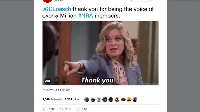 A tweet by the NRA using a Leslie Knope GIF got the 'Parks and Rec' crew all riled up on Twitter.