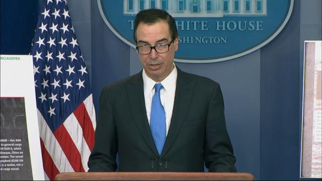 Treasury Secretary Steven Mnuchin announces that the Trump administration is hitting more than 50 vessels, shipping companies, and trade businesses with sanctions in a  bid to turn up the pressure on North Korea over its nuclear program. (Feb. 23)