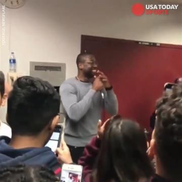 Dwyane Wade surprises students at Stoneman Douglas High School