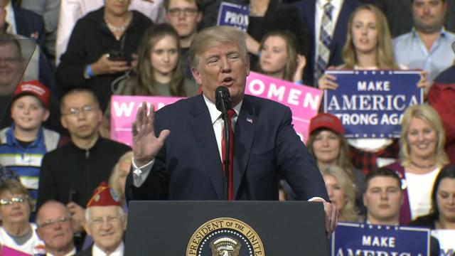 Speaking at a Moon Township, Pennsylvania, rally, the president addressed his wife's role in fighting the country's opioid epidemic