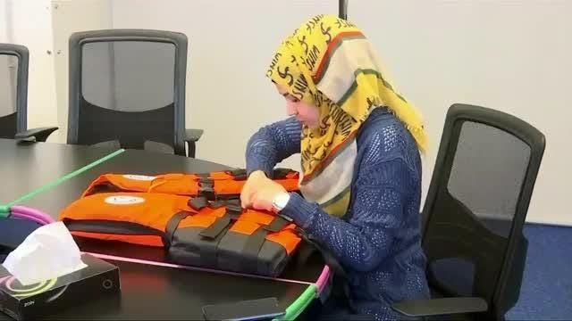 Syrian woman develops GPS-equipped lifejacket