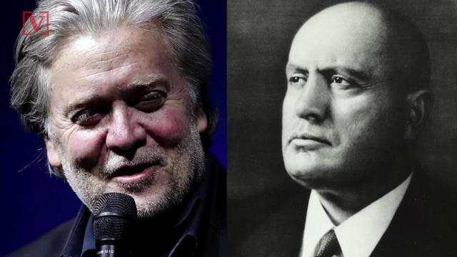 """Former White House chief strategist Stephen Bannon said in an interview that he's quote """"fascinated"""" by former Italian dictator Benito Mussolini. Veuer's Sam Berman has the full story."""