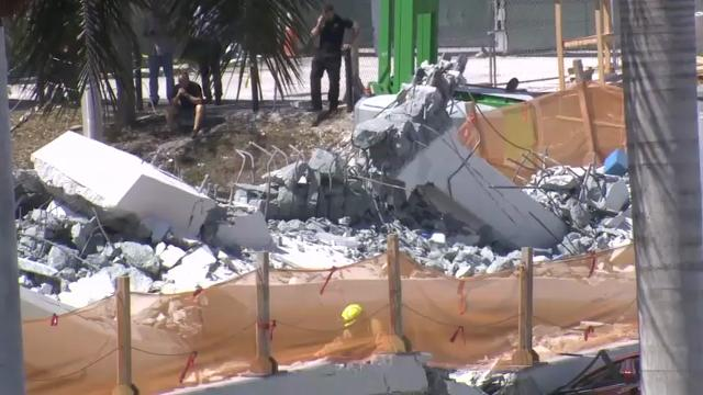 """A witness who was in a vehicle near the 950-ton pedestrian bridge that collapsed in Miami Thursday said it sounded """"like the world was ending."""" Six people are confirmed dead, and officials expect the death toll to rise. (March 16)"""