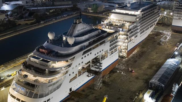 silver spirit silversea cruise ship cut in half as part of expansion