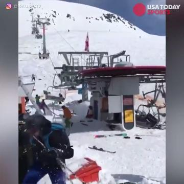A scary scene at a ski resort in the country of Georgia when a chairlift malfunctions, sending riders on a terrifying ride.
