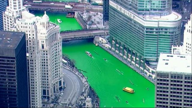 It is a tradition on St. Patrick's Day, to celebrate in the Windy City with thousands of spectators crowding the banks of the Chicago River to be amazed at the rivers temporary hue of emerald green. (March 17)