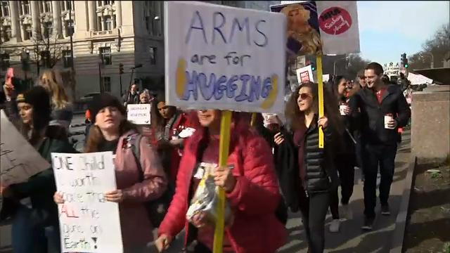 Tens of thousands swarmed into the nation's capital to march for gun control and ignite political activism among the young. Teenage marchers are pledging to vote in November for candidates that will listen to their cries for gun control. (March 24)