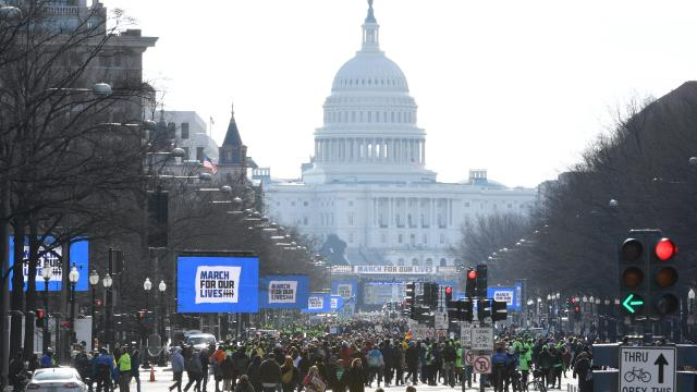 """Protestors make their way onto Pennsylvania Avenue for the """"March for Our Lives"""" in this time-lapse video."""
