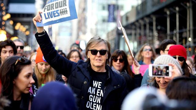 As tens of thousands of March For Our Lives protesters gathered on the western edge of New York City's Central Park Saturday, Paul McCartney was there to honor the murder of his legendary song-writing partner and fellow Beatle, John Lennon.