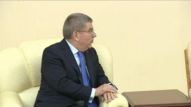 International Olympic Committee President Thomas Bach met with Kim Jong Un in Pyongyang and said the North Korean leader is committed to having his country participate in the 2020 Tokyo Summer Olympics and the Beijing Winter Games in 2022. (March 31)
