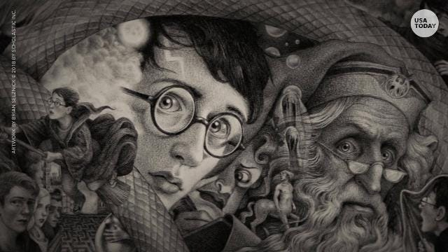 """For the 20th anniversary of the U.S. publication of """"Harry Potter and the Sorcerer's Stone,"""" Scholastic has commissioned Brian Selznick to design seven new jackets for the blockbuster J.K. Rowling series."""
