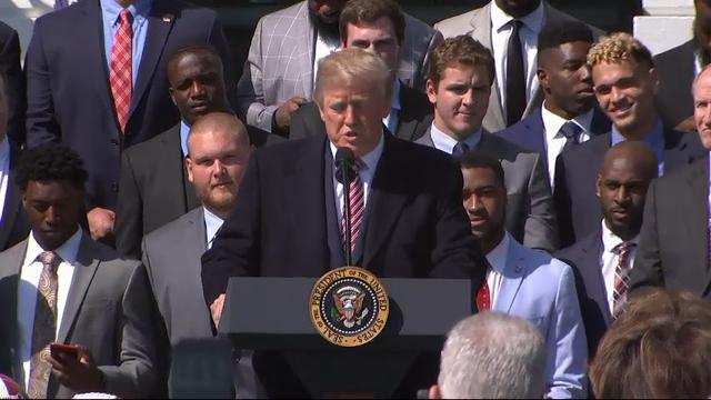 President Donald Trump welcomed the University of Alabama football team to the White House and congratulated the team on its victory over the Georgia Bulldogs in the NCAA championship game. (April 10)