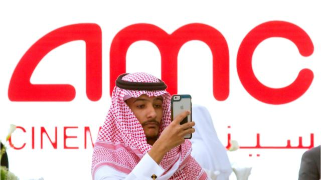 Saudi Arabia launched its first commercial movie theater on Wednesday, ending a 35-year ban.