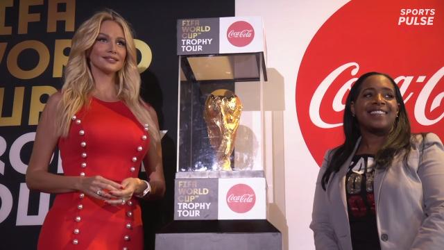 The FIFA World Cup Trophy Tour ceremony with Coca-Cola and FIFA leadership unveil the trophy in New York City.