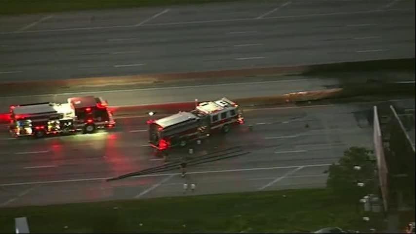 Houston Freeway Shut By Exploding Semi Truck