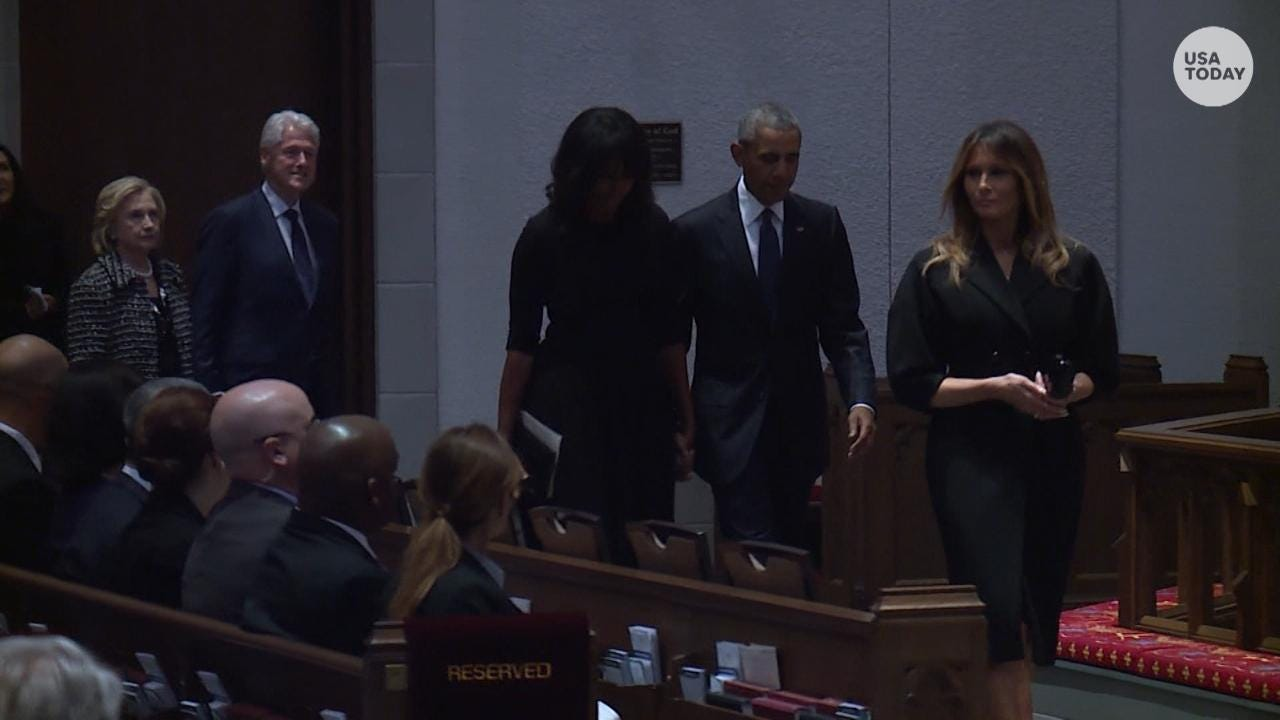 Melania Trump, the Obamas and Clintons arrive at funeral for Barbara Bush