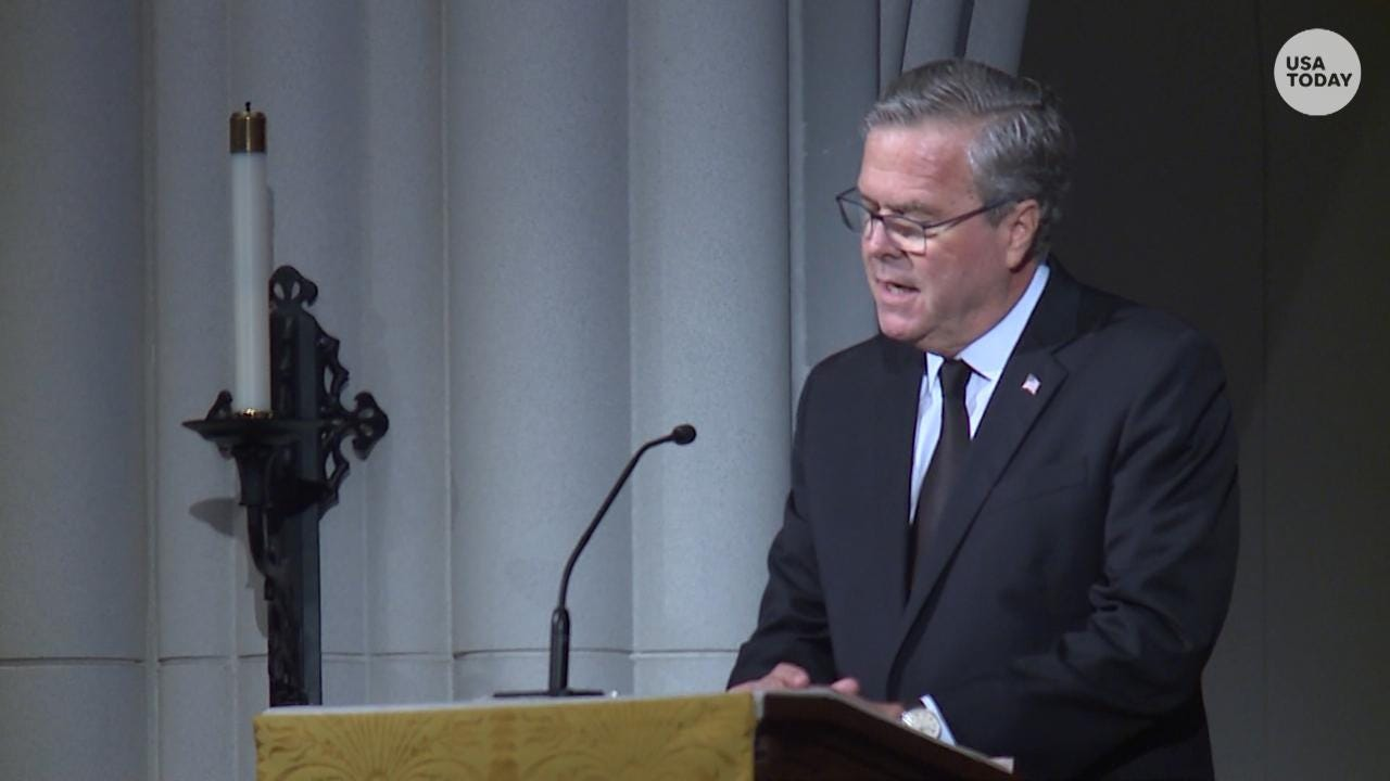 Jeb Bush, final eulogist, choked back tears while recounting his mom's genuineness, wearing fake pearls and not dying her hair.