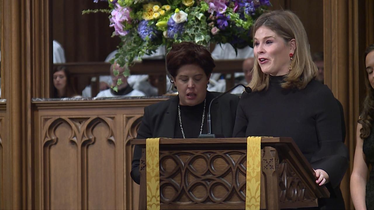 Former first lady Barbara Bush's granddaughters offered moving readings of scripture passages from Ecclesiastes, Proverbs and Corinthians at her funeral.