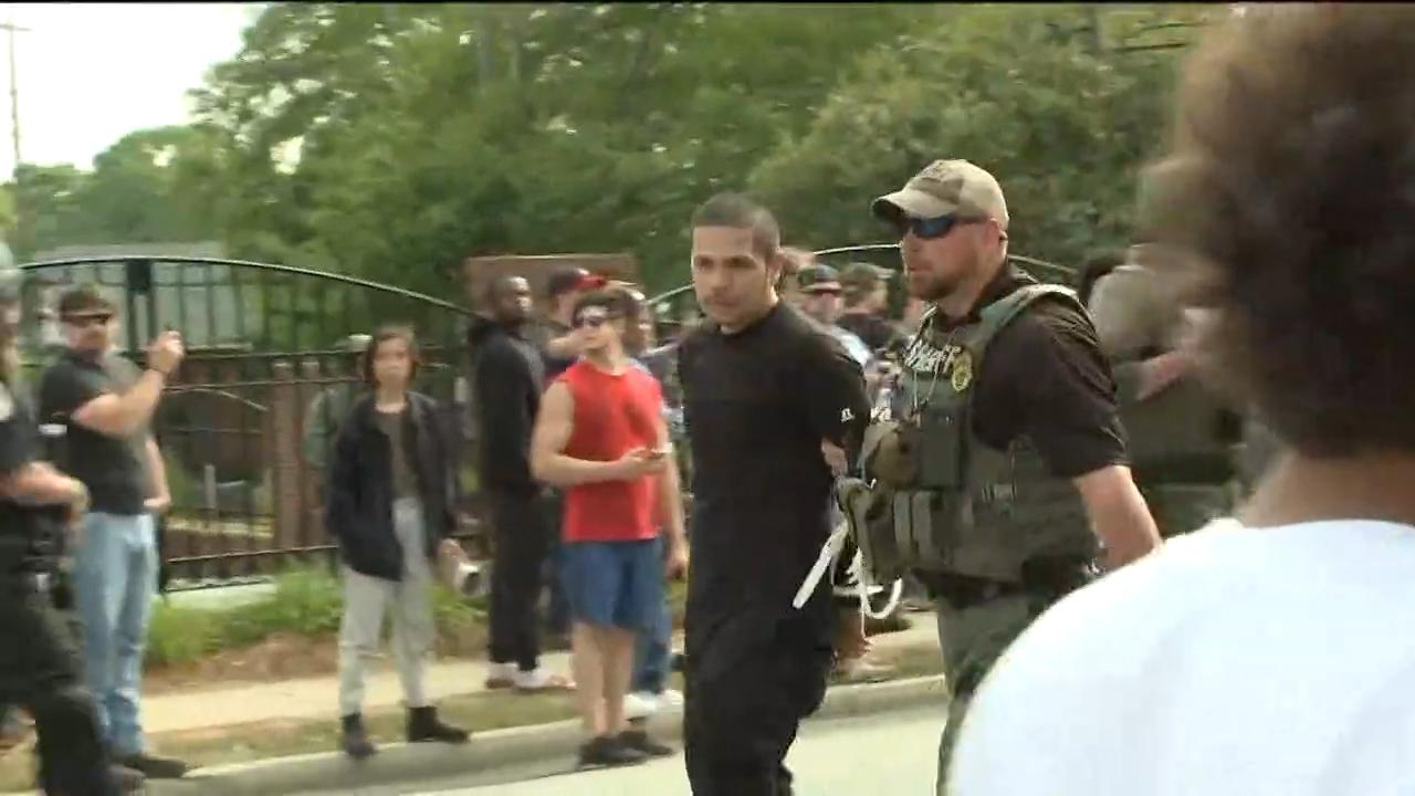 A group of neo-Nazi protestors were met by hundreds of counter demonstrators and a heavy police presence in Georgia town near Atlanta.