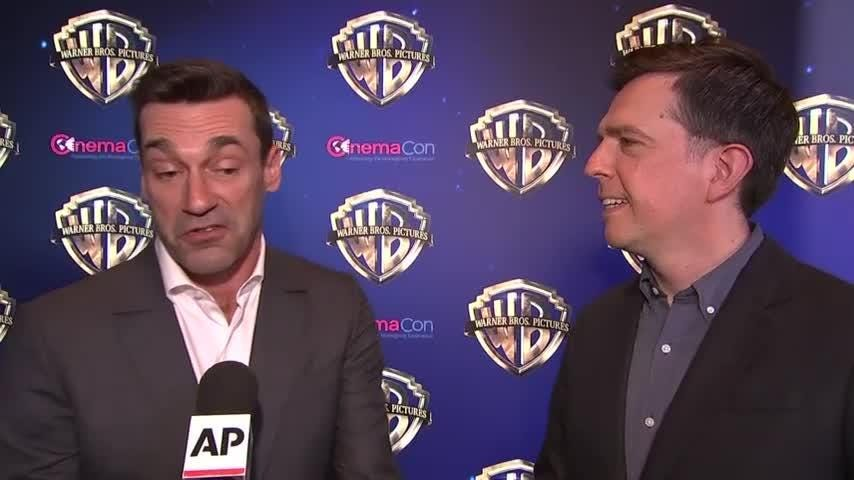 """At a CinemaCon event promoting their latest comedy """"Tag,"""" Jon Hamm and Ed Helms joke about reboots of the TV shows that made them famous. (April 26)"""