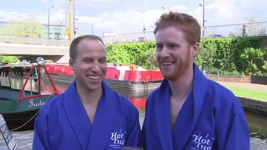 A royal party floated into London on Thursday, but it had little in common with the formalities of life at Buckingham Palace. It was Prince Harry's stag night on board a motorized hot tub as imagined by a group of royal lookalikes. (April 26)