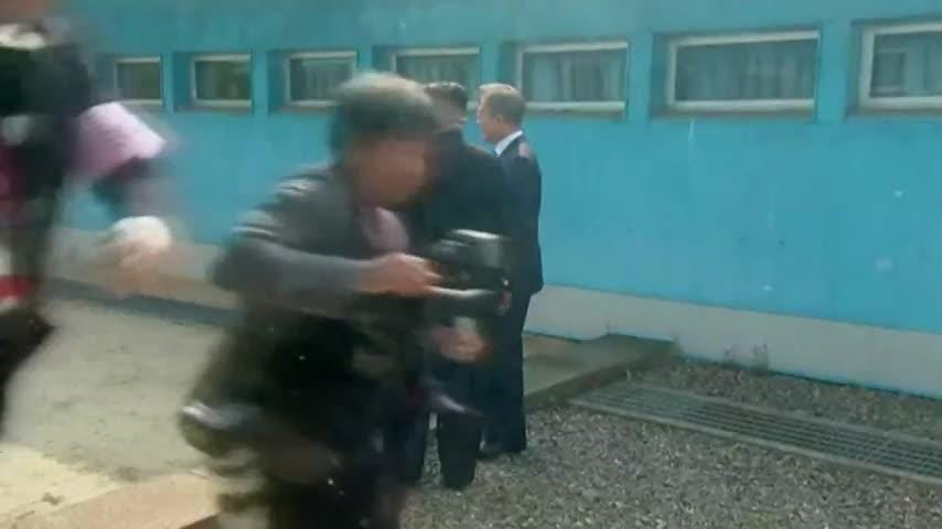 North Korean leader Kim Jong Un crossed on foot the military demarcation line in Panmunjom in the Demilitarized Zone (DMZ) for historic talks with South Korean President Moon-Jae-in on Friday.  (April 26)